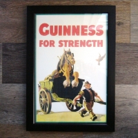 Guinness Framed Horse in Cart Print
