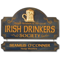 Irish Drinkers Society Pub sign