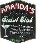 Martini Social Club Pub Sign #3825