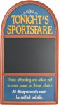 Tonights Sportsfare chalkboard